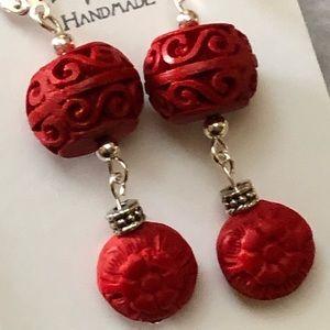 Casey Keith Design Jewelry - Cinnabar Spirals & Florals Earrings